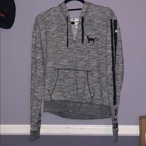 PINK Victoria Secret Zip-up hoodie Sequins Gray